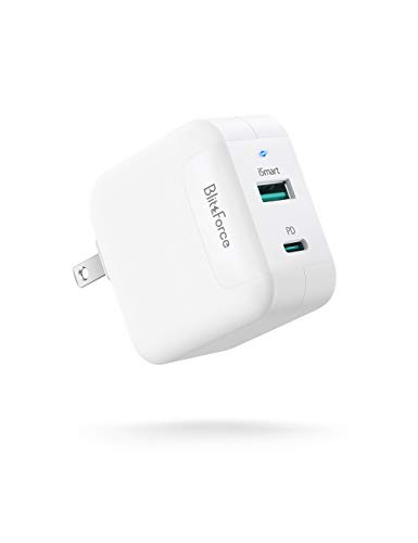 USB C Charger, Blitzforce 65W 2-Port Wall Charger PD 3.0 [GaN Tech] USB Fast Charging Power Delivery Adapter with Foldable Plug for MacBook Pro iPad Pro, iPhone 11 Pro Max X XS XR 8, Galaxy S9 S9+ S10