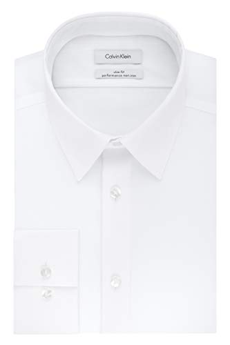 Calvin Klein Men's Non Iron Slim Fit Solid Point Collar Dress Shirt, White, 16.5' Neck 32'-33' Sleeve