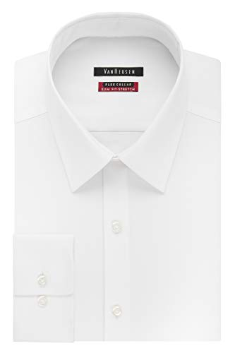 Van Heusen Men's Dress Shirt Slim Fit Flex Collar Stretch Solid, White, 16' Neck 32'-33' Sleeve (Large)