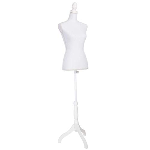 Female Mannequin Torso Body Dress Form with White Adjustable Tripod Stand for Clothing Dress Jewelry Display, All White