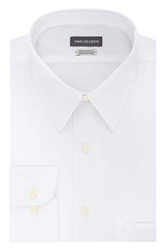 Van Heusen Men's Poplin Regular Fit Solid Point Collar Dress Shirt, White, 17.5' Neck 34'-35' Sleeve