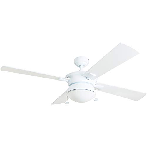 """Prominence Home 50344-01 Auletta Outdoor Ceiling Fan, 52"""" ETL Damp Rated 4 Blades, LED Frosted Contemporary Light Fixture, Matte White"""