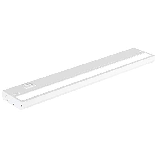 LED Under Cabinet Lighting by NSL - Dimmable Hardwired or Plugged-in installation - 3 Color Temperature Slide Switch - Warm White (2700K), Soft White (3000K), Cool White (4000K) - 18 Inch White Finish