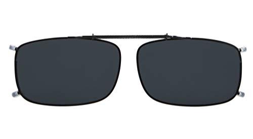 Eyekepper Metal Frame Rim Polarized Lens Clip On Sunglasses Grey Lens 2 1/16' x1 5/16'