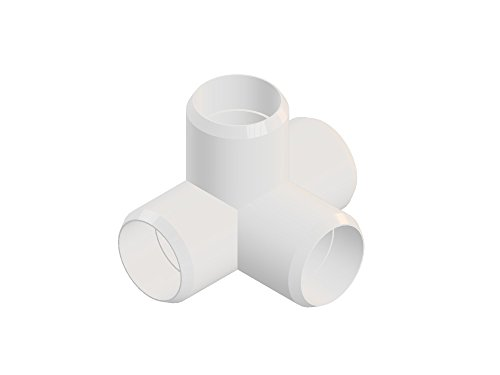 4way 1 inch PVC Elbow Corner Side Outlet Tee Fitting, Furniture Grade, White [Pack of 8]