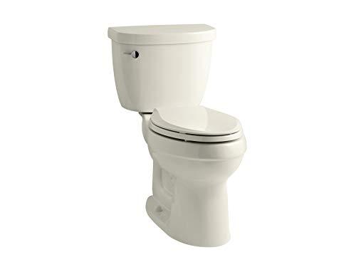 KOHLER K-3589-96 Cimarron Comfort Height Elongated 1.6 gpf Toilet with AquaPiston Technology, Less Seat, Biscuit