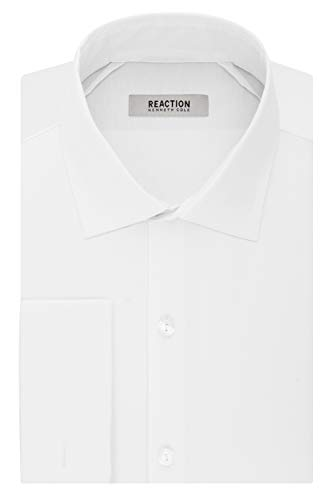Kenneth Cole Reaction Men's Technicole Slim Fit Stretch Solid French Cuff Spread Collar Dress Shirt , White, 15.5' Neck 32-33' Sleeve