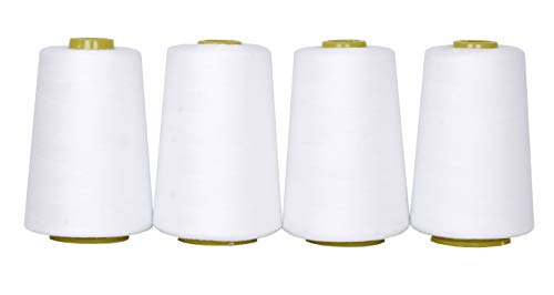 Mandala Crafts All Purpose Sewing Thread from Polyester for Serger, Overlock, Quilting, Sewing Machine (White)