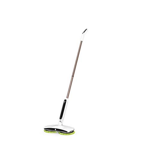 GOBOT Cordless Electric Mop Floor Scrubber for Home Kitchen Hardwood Floor Cleaning,2 Replacement Microfiber Pads and Adjustable Handle,Battery Indicator and Led Floodlight Polish for Tile, Vinyl