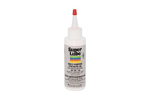 Super Lube 51004 Synthetic Oil with PTFE, High Viscosity, 4 oz Bottle,Translucent white