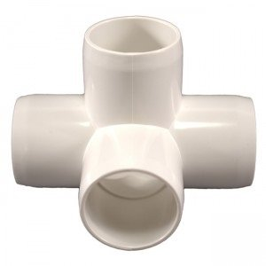 Performance PVC - 4-Way PVC Side Outlet Tee Fitting, Furniture Grade, 1-1/4' Size, White (Pack of 4)