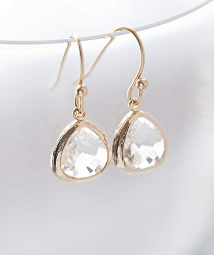 Clear Crystal Glass Drop Earrings