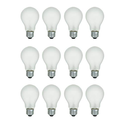 A19 Frosted Incandescent Rough Service Light Bulb, 60 Watt, Long Life - 10000 Hours, 2700K Soft White, E26 Medium Base, 480 Lumens, 130V (12 Pack)