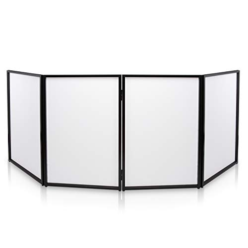 DJ Booth Foldable Cover Screen - Portable Event Facade Front Board Video Light Projector Display Scrim Panel with Folding Steel Frame Panel Stand, Stretchable Lycra Spandex - Pyle PDJFAC10 (White)
