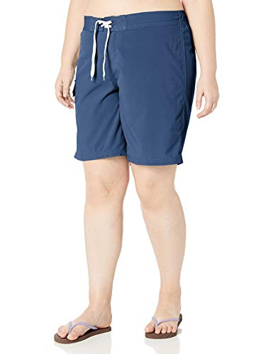 Kanu Surf Women's Plus Size Marina Solid Stretch Boardshort, Navy, 1X