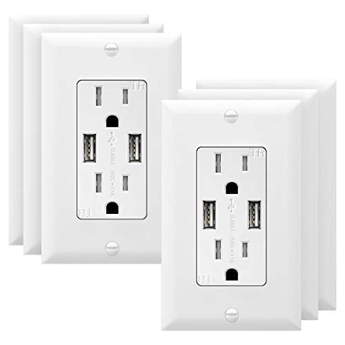 TOPGREENER 3.1A USB Wall Outlet Charger, 15A Tamper-Resistant Receptacles, Compatible with iPhone XS/MAX/XR/X/8, Samsung Galaxy S10/S9/S, LG, HTC & other Smartphones, UL Listed, TU2153A, White 6 Pack