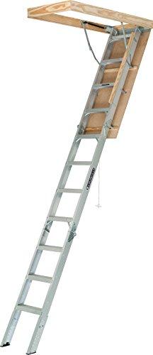 Louisville Ladder AA2210 Elite Aluminum Attic Ladder, 375 Pound Load Capacity, 22-1/2 x 54'