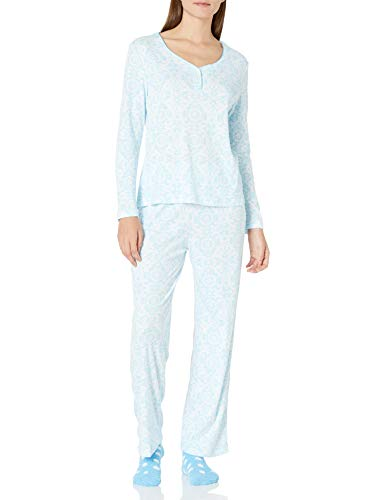 Karen Neuburger Women's Long Sleeve Pullover Pajama Set Pj, Brocade Aqua, Medium