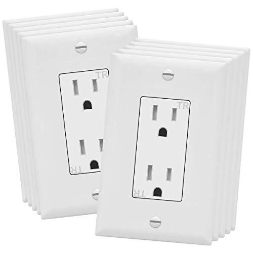 ENERLITES Decorator Receptacle Outlet with Wall Plate, Tamper-Resistant, Residential Grade, 3-Wire, Self-Grounding, 2-Pole, 15A 125V, UL Listed, 61501-TR-WWP, White (10 Pack)