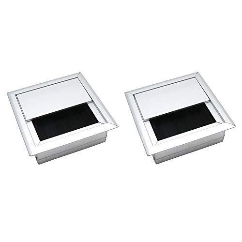 BTMB 80x80mm/3.14''x3.14'' Aluminum Alloy Square Grommet Wire Cable Hole Cover for Office Computer Table Desk,Pack of 2