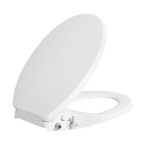 AmazonBasics AB-T103-R-W Non-Electric Bidet Toilet Seat, Round, White, 1-Pack