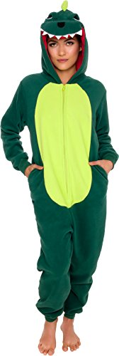Silver Lilly Slim Fit Animal Pajamas - Adult One Piece Cosplay Dinosaur Costume (Green, X-Small)