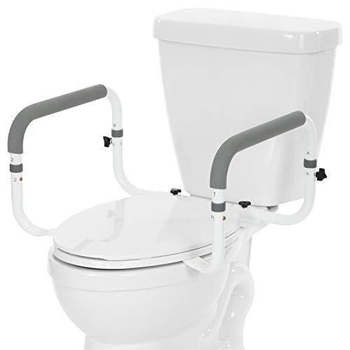 Vive Toilet Safety Rail - Adjustable Grab Bar - Compact Support Frame with Handrail for Bathroom Toilet Seat - Easy Installation for Handicap Senior Bariatrics, Elderly Balance - Padded Hand Armrest