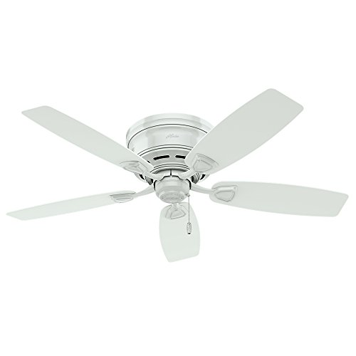 Hunter Fan Company 53119 Etl Damp Listed, White Ceiling Fan With Five Plastic Blades, 48'