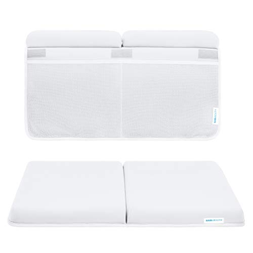 Bath Kneeler and Elbow Rest Pad Set, 1.75 inch Extra Thick Baby Bath Kneeling Pad and Elbow Pad for Bathtub. Bath Tub Elbow Pad with Infant Toy and Baby Accessories Organizer White