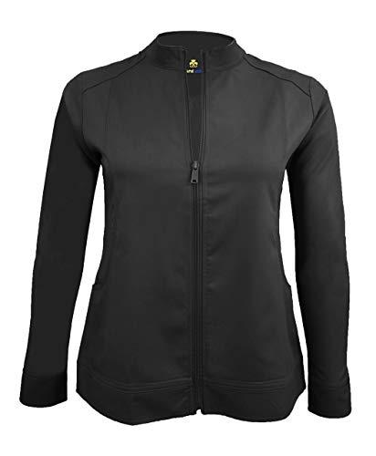 Natural Uniforms Women's Ultra Soft Front Zip Warm-Up Scrub Jacket (Black, Medium)