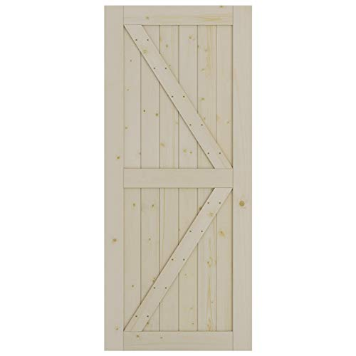 SmartStandard 36in x 84in Sliding Barn Wood Door Pre-Drilled Ready to Assemble, DIY Unfinished Solid Spruce Wood Panelled Slab, Interior Single Door Only, Natural, K-Frame (Fit 6FT-6.6FT Rail)