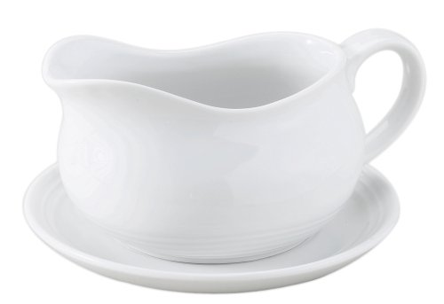 HIC Hotel Gravy Sauce Boat with Saucer Stand, Fine White Porcelain, 24-Ounces