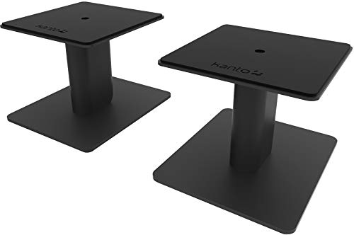 Kanto SP6HD 6' Desktop Speaker Stands | Designed for 4' to 7' Desktop and Bookshelf Speakers | Reduced Vibration | Heavy Steel with Foam Padding | 30° Rotating Top Plate | Hidden Cable Design | Black