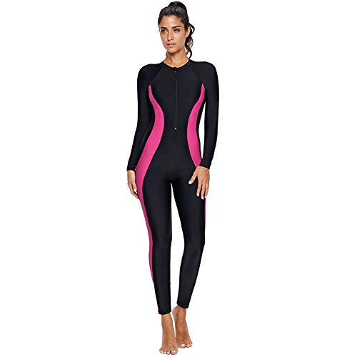 Women's One Piece Rash Guard Zip Front, Full Body Cover Wetsuit, Sun Protection Long Sleeve Dive Skin Surf Suit S-XXXL (XXL(US 18-20), Black Pink)