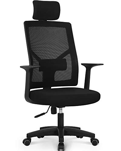 NEO CHAIR Office Chair Computer Headrest Desk Chair - Head Rest Business Ergonomic Mid Back Cushion Lumbar Support Wheels Comfortable Mesh Racing Seat Adjustable Swivel Rolling Executive, Black-H