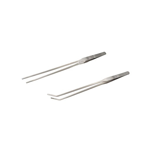 YEJI 2pcs Long Handle Stainless Steel Straight and Curved Tweezers Nippers for Garden, Kitchen, Indoors and Outdoors
