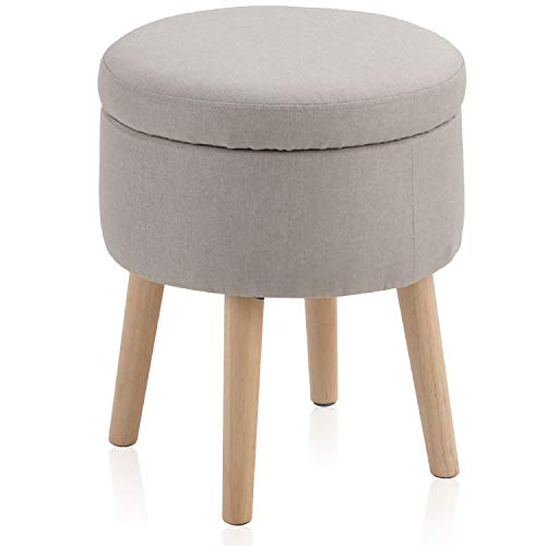 MAISON ARTS Round Storage Ottoman Vanity Stool Foot Stool Seat Dressing Chair Footrest Side Table Tufted Ottoman Coffee Table, Light Grey