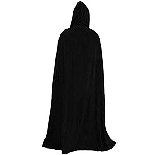 Utaomld Unisex Full Length Hooded Robe Cloak Long Velvet Cape Cosplay Costume for Witch Goth Devil Pirate Vampire Demon, Christmas Halloween Party Dress Up 59 inch,Black