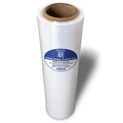 18' Stretch Film/Wrap 1200ft 500% Stretch Clear Cling Durable Adhering Packing Moving Packaging Heavy Duty Shrink Film (1 Pack, Clear)