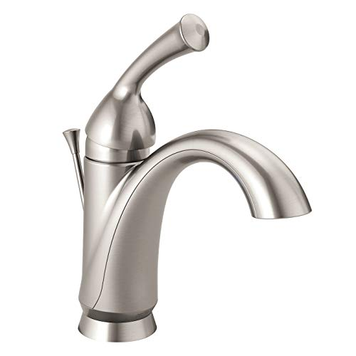 Delta Faucet Haywood Single Hole Bathroom Faucet Brushed Nickel, Single Handle Bathroom Faucet, Diamond Seal Technology, Metal Drain Assembly, Stainless 15999-SS-DST