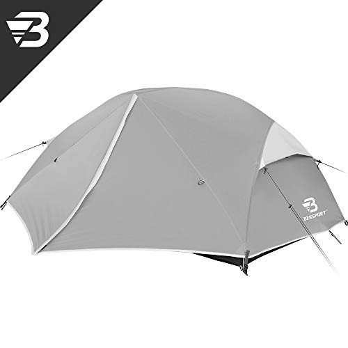 Bessport 2-3 Person Backpacking Tent Lightweight, Easy Setup 3 Season Camping Tent -Two Doors, Waterproof, Anti-UV Large Tent for Family, Outdoor, Hiking (2 Person-Grey)