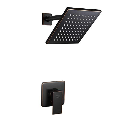 POP Shower Faucet Set Oil Rubbed Bronze, Bathroom Rainfall Shower System with Stainless Steel Metal Shower Head, Single Function Shower Trim Kit with Rough-in Valve