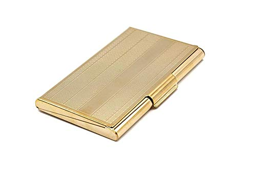 Business Card Carrying Case - Luxurious Chrome Gold Calling Card Holder for Professional Men & Women - Slim - Fits: 15~20 Cards | Impress Your Prospects & Clientele with Impeccable Class & Demeanor!