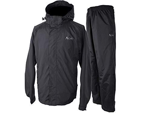 Acme Projects Rain Suit (Jacket + Pants), 100% Waterproof, Breathable, Taped Seam, 10000mm/3000gm, YKK Zipper (Men's, XX-Large, Black)
