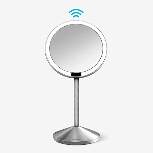 simplehuman 5' Round Mini Travel Sensor Makeup Mirror 10x Magnification, Rechargeable, Brushed Stainless Steel
