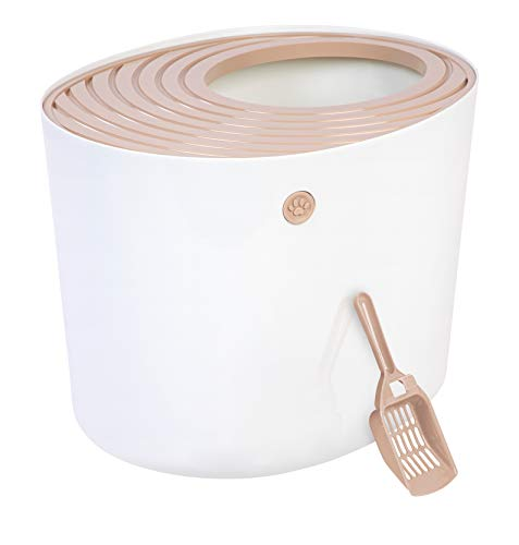 IRIS USA (586962) Top Entry Cat Litter Box with Cat Litter Scoop, White & Beige PUNT-530, Large