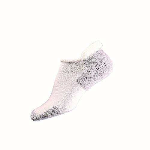 Thorlos Unisex-Adult J Max Cushion Running Rolltop Socks, White/Platinum, Medium