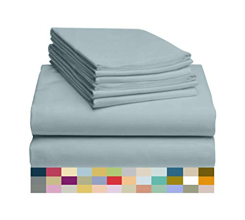 LuxClub 6 PC Sheet Set Bamboo Sheets Deep Pockets 18' Eco Friendly Wrinkle Free Sheets Hypoallergenic Anti-Bacteria Machine Washable Hotel Bedding Silky Soft - Light Teal King