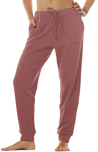 icyzone Women's Active Joggers Sweatpants - Athletic Yoga Lounge Pants with Pockets (M, Dusty Pink)