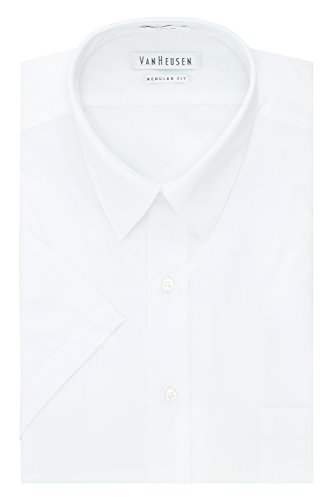 Van Heusen Men's Dress Shirts Short Sleeve Poplin Solid, White, 16' Neck
